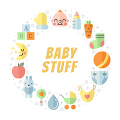 Baby (girl and boy) stuff flat multicolored cute vector circle frame. Modern minimalistic design (part one).