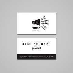Film, movie and video business card design concept. Film, movie and video logo with megaphone and film tape. Vintage, hipster and retro style. Black and white.