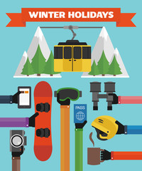 Winter Holidays modern Flat background with hand .