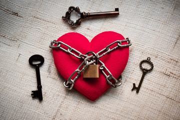 A heart tied with chains and locks surrounded by keys