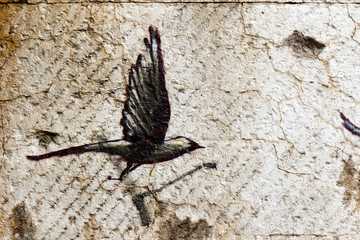 Color DSLR stock image of a grungy, abstract black bird painted on a concrete wall; in horizontal orientation with copy space for text