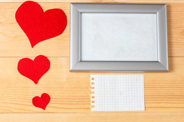 blank frame, card and hearts