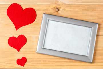 blank frame and hearts