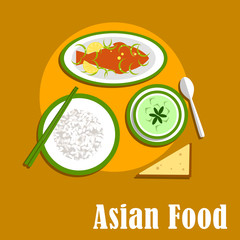 Asian dinner dishes of thai cuisine