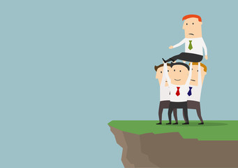 Cohesive business team getting rid of competitor