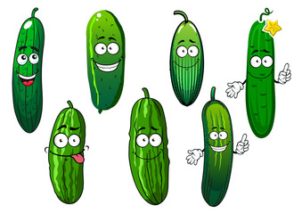 Cartoon ripe green organic cucumber vegetables
