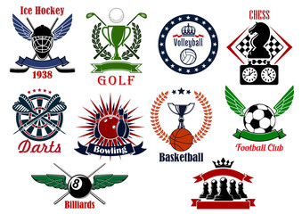 Spors games icons, emblems and tournament badges