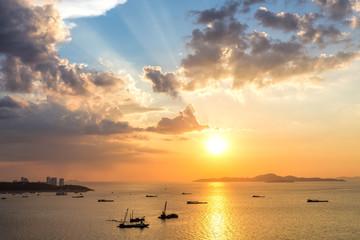 Colorful sunset at Pattaya bay