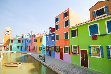 Colorful building in Ratchaburi Province, Thailand