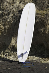 Surfboard Leaning on Cliff at Del Mar
