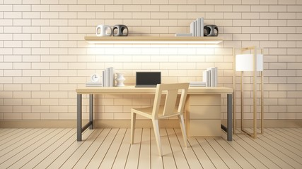 Modern interior Working room and office 3d render