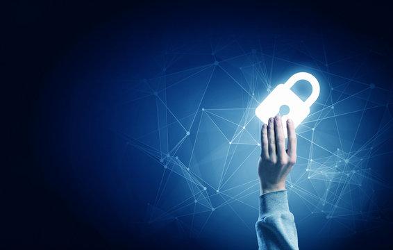 Digital safety blue concept