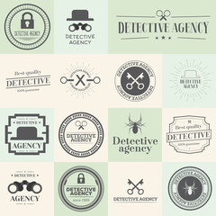 Label badges and stamps set for detective agency.