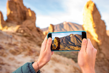 Photographing rocky landscape
