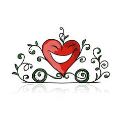 Valentine day, heart shape carriage sketch for your design