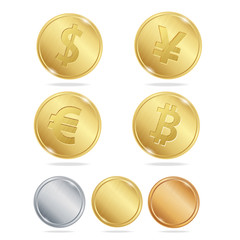 Gold Coins Dollar Euro Bitcoin Yuan Set. Vector