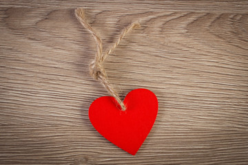Decoration of red wooden heart for Valentines Day