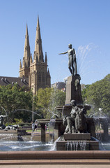 The Archibald Fountain and St Mary's Cathedral, Sydney