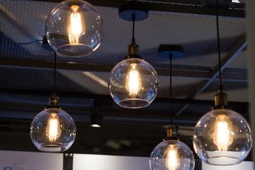 Lamp decoration in the restaurant.