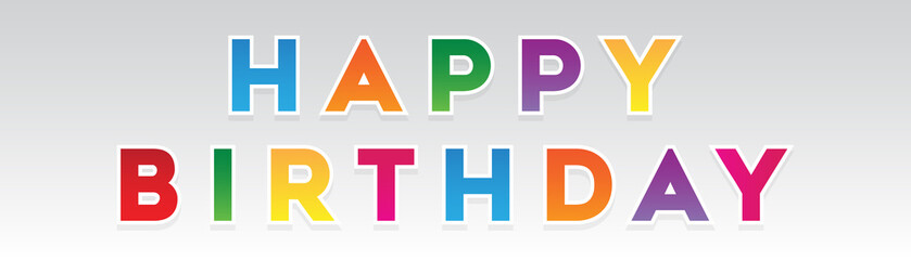 Fulcolor Happy Birthday Letters With Shadow Design