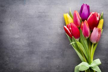 Obraz Tulips on the grey background. - fototapety do salonu