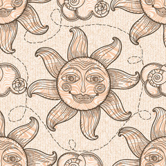Seamless pattern with sun and clouds.