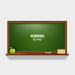 Blackboard with green apple chalk and sponge Vector illustration.