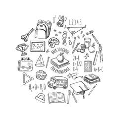 School tools sketch in a circle vector design illustration.