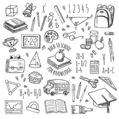 School tools sketch blue icons vector set.