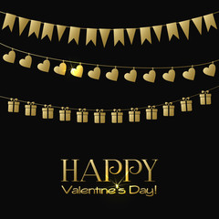 Valentines Day greeting card with gold garlands on a black background