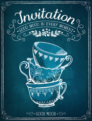 Invitation card. Retro illustration