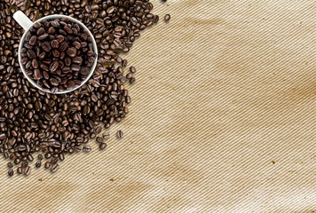 coffee beans on traditional sack textile background