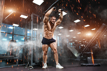 Strong Athletic Man bodybuilder training triceps muscles in simulator in gym