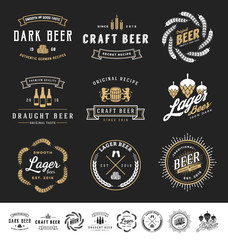 Collection of 9 Beer Logos, Badges, Stamps and Labels Design. Vector illustration