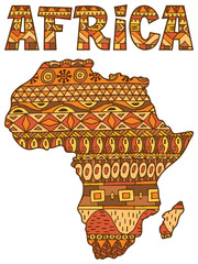 Africa Map Pattern / Africa abstract map over white background.