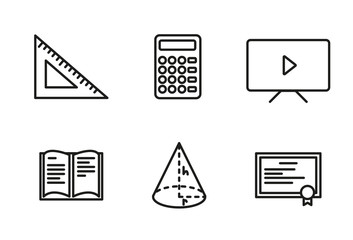 Mathematics icon set outlined