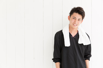 portrait of young asian man sporty image