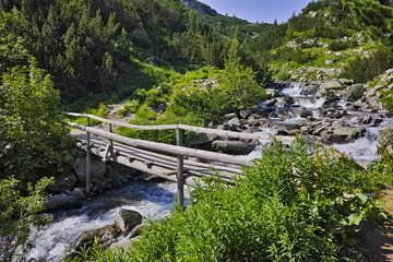 Wooden bridge over River near Vihren hut, Pirin Mountain, Bulgaria