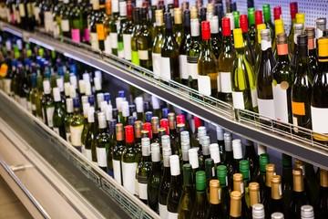 View of wine bottles