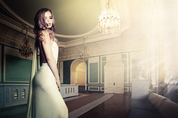 Glamorous Woman in Palace Interior Wall mural