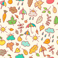 Autumn simless pattern in a childish style