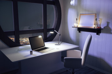 Laptop and lamp on white table in modern room with night city vi