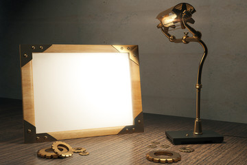 Steampunk background with blank picture frame and lamp on a wood