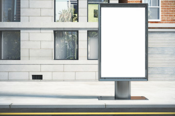 Blank white billboard on the street outdoor in the morning, mock