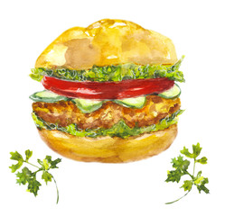 Burger  / watercolors on white background. Sketch Fast food. Bun, chicken, vegetables