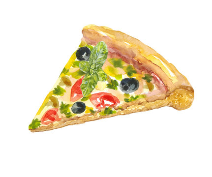 Pizza /Hand Drawn Slice Of Pizza, Watercolor Sketch,Illustration For Food Design.