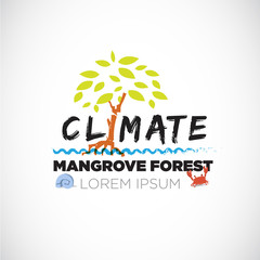 mangrove forrest. letter. save the forest - vector