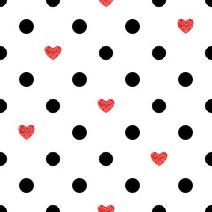 Polka dots pattern with red hearts. Romantic background.