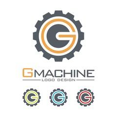Machine Logo, Gear, Circle Letter G Design Logo Vector