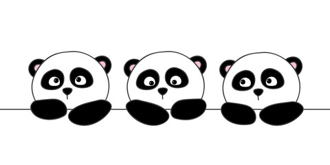 Cute cartoon pandas isolated on white